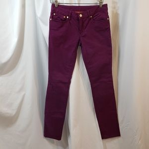 Tory Burch sz 27 waist Ivy super skinny purple vio